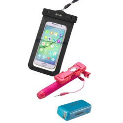 Σετ Celly universal αδιάβροχη θήκη & Powerbank & Selfie stick Ροζ